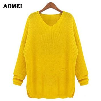 Big size XXXXL Sweater for women 2018 Fashion Spring Crochet Plus size knitted pullovers Female Yellow tricotado jumper Clothing