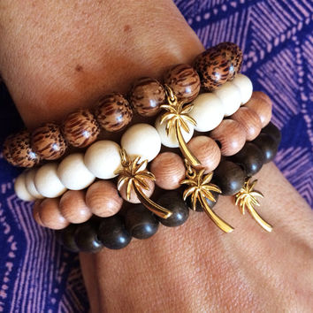 The Palms Bracelet- Beaded Wood Bracelet with Gold Pam Tree Charm