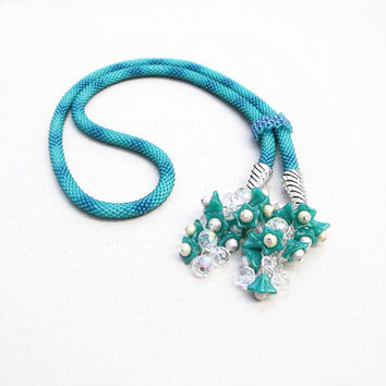 Bead crochet necklace, rope, lariat with glass flowers - Teal Turquoise Green-blue Ombre Beadwork