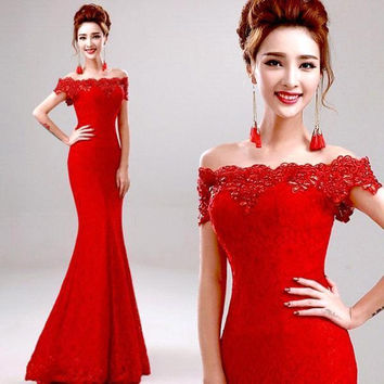 Vestido De Renda Crystals Beaded Lace Cheap Price Mermaid Red Evening Dress Prom Dresses Robe De Soiree