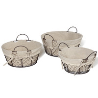 Adeco Multi-Purpose Oval Minimalist Baskets with Faux Linen Liner Home Decor, Set of 3
