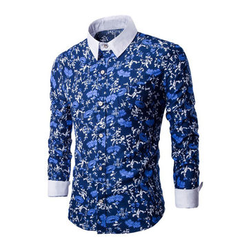 Luxury Men's Long Sleeve Slim Fit Shirt Fashion Casual Floral Pattern Slim Stylish Shirts Blouse Men Dress Shirts MLXLXXL SN9