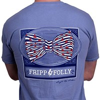 Sailboat Bowtie Frocket Tee in Washed Denim Blue by Fripp & Folly