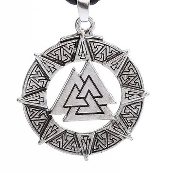 Slavic Norway Valknut Pagoda Amulet Pendant Men Necklace Jewelry Scandinavian Viking Odin Is Symbol Of The Norse Viking Warrior