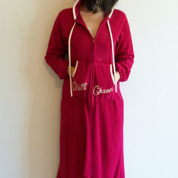 Super Cute Dark Fuschsia Chill Chaser Zip Up Hooded Maxi Robe