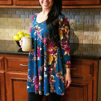 Falling for Florals Tunic, Teal