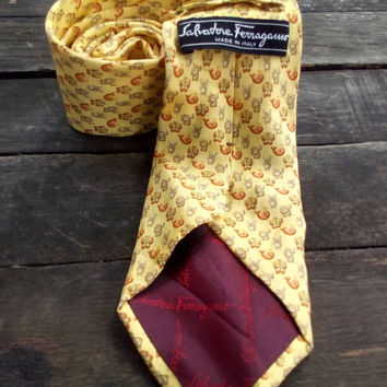Salvatore Ferragamo Tie Gold pattern Necktie Made In Italy