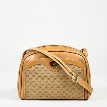 VINTAGE Gucci Brown Monogram Canvas & Leather Shoulder Bag