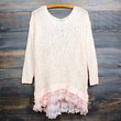 all eyes on me lace trim sweater tunic - peach