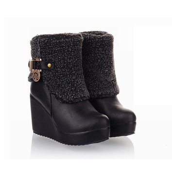 New Fashion Women's High Heel Faux Fur PU Wedges Shoes Boots