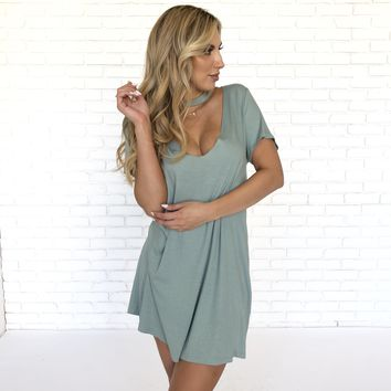 Mint Choker Ribbed Dress