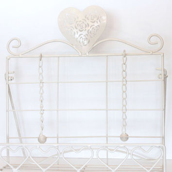 Heavy Iron White Cookbook Stand Holder, Guestbook Stand with Hearts, Metal Book or Magazine Holder Rack, White Kitchen Decor Cookbook Easel