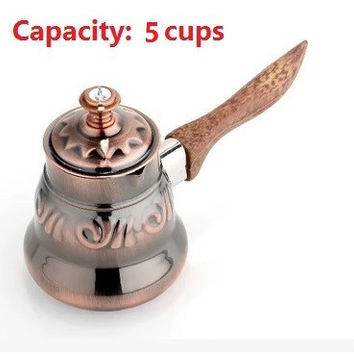 1pc 5 cups Turkish Greek Arabic Coffee Pot stainless steel pot with wooden handle Stovetop Coffee Maker Ibrik for barista