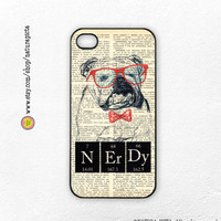 English bulldog Nerdy periodic table quote on dictionary page iphone case 4/4S- iphone 5/5S - Galaxy S4 case - Design by Natura Picta-NP046