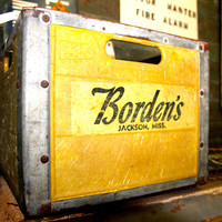 Borden's Dairy Yellow Wooden Crate Marked Jackson, Mississippi FREE SHIPPING