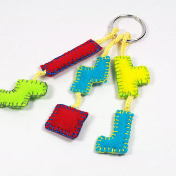 Geometric puzzle keychain, vintage retro video game geek