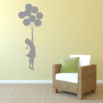 Wall Decal Vinyl Sticker Decals Art Decor Design Little Girl With Balloons Gift Children Kids Living Room Bedroom Nursery(r245)