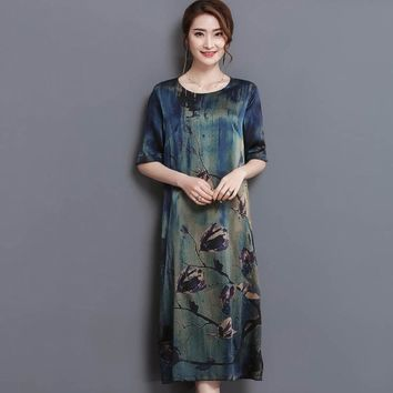 2017 New Summer Middle Age High Quality Silk Print Long Dress Vintage Elegant Large Size Loose O-Neck Women Dress