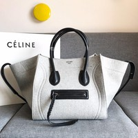 Kuyou Gbt09924 Celine Phantom Book Tote Bag In Cashmere Wool And Calfskin 6602 30 X 28 X 24 Cm