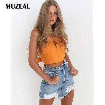 MUZEAL Sexy Woman cotton Slip Crop Top Tank Tops Sleeveless Open Back Ties Bow Night Club Party Lady Belly Shirts Blouse 115