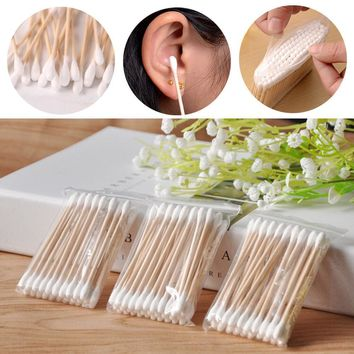 New Fashion Wood Cotton Head Health Makeup Cosmetics Ear Clean Jewelry Cleaner Cotton Swab Stick Buds For Medical Care Hot FAM