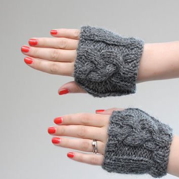 Grey/Gray Cable Knit Hand Warmers Cable Knitted Paws by LumiStyle
