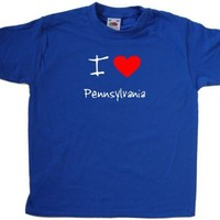 I Love Heart Pennsylvania Royal Blue Kids T-Shirt