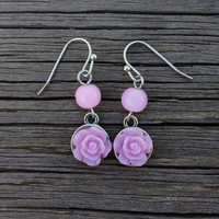 Light Purple Rose Dangle Earrings