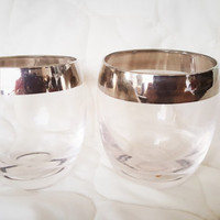 Mid Century Mad Man Silver Band Dorothy Thorpe Style Roly Poly Glasses / Silver Rim Cocktail Glasses / Set of 2/ Whiskey Silver Trim Glasses