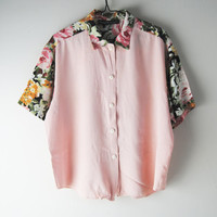 Vintage 90s Pastel Floral Top, Black And Baby Pink Floral Insert Two Tone Shirt, 90s Grunge Clothing
