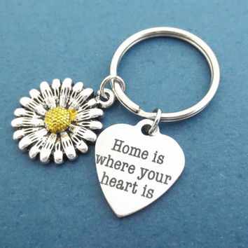 Home is where your heart is, Heart, Lover, Flower, Silver, Key chain, Home, Lover, Key ring, Birthday, Friends, Gift, Jewelry, Accessory