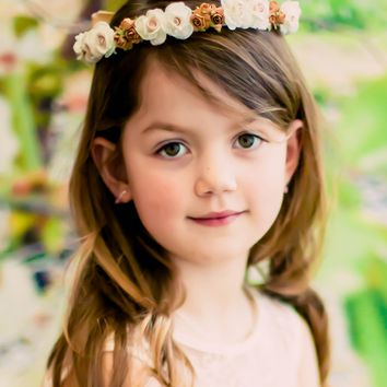 Champagne Floral Crown Wreath Handmade with Silk Flowers, Back Satin Ribbons & Bows (Girls)