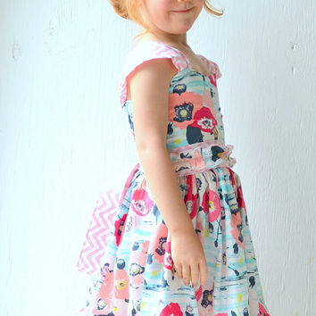 Girls Twirl Dress, Summer Dress, Aqua and Pink,Fancy Special Occasion Dress, Toddler Tea Party Dress, Girls Boutique Clothing, Custom Order
