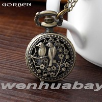 Small bronze retro pocket watch birds and flowers design cooper quartz watch for beautiful women lady necklace with long chain