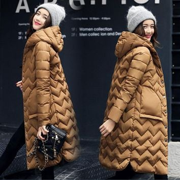 New Women Hooded Cotton Padded Long Winter Jacket