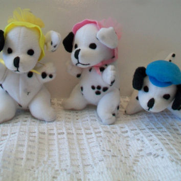 Disney Dalmatian Puppy Stuffed Animal Toys Mattel 1996 Black and White Puppies