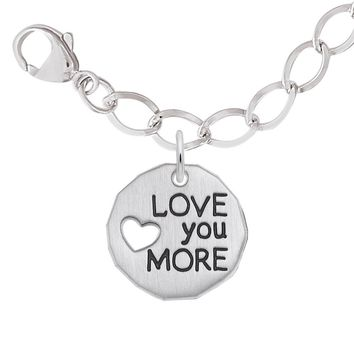 Love You More Charm and Bracelet Set in Sterling Silver