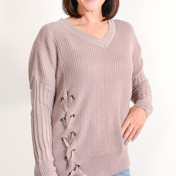 Mauve Side Lace-Up Sweater