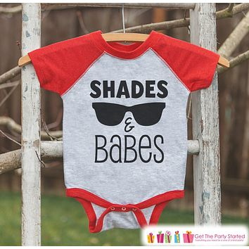 Shades and Babes Onepiece or Raglan - Summer Outfit For Kids - Red Baseball Tee or Onepiece - Fun Summer Outfit for Baby, Youth, Toddler