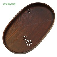 Japanese Sakura Wood Tea Plates Oval Dinner Plate Fruit Dishes Dim Sum Food Dinner Launch Candy Coffee Tray Tea Serving Trays