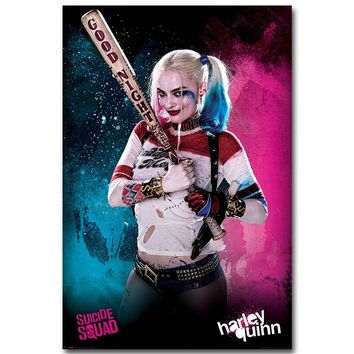 NICOLESHENTING Harley Quinn - Suicide Squad Superheroes Art Silk Fabric Poster Print 13x20 inch Movie Picture Wall Decor 001