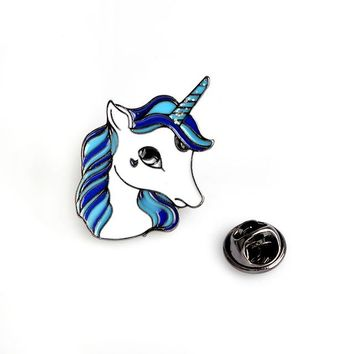 Fun Blue Unicorn Animal Brooch Button Flare Pins BFF Great for Denim Jackets Shirts, Purses and More