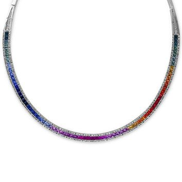 EFFY Collection Watercolors by EFFY Multi-Sapphire (10 ct. t.w.) and Diamond (1-1/5 ct. t.w.) Collar Necklace in 14k White Gold & Reviews - Necklaces - Jewelry & Watches - Macy's
