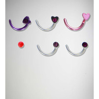Purple, Pink, and Red 5 peices nose studs