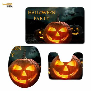 HUGSIDEA 3D Halloween Night Print Toilet Seat Cover Decorative Bathroom Overcoat Toilet Case Washable Cushion Pads Lids 3PCS/Set