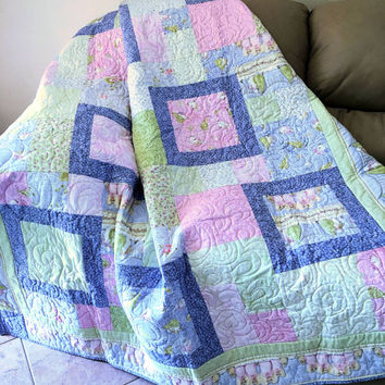Cottage Chic Christmas Lap Quilt, Holiday Quilted Sofa Throw in Pastel Pink, Blue and Green, Angels and Snowmen Quiltsy Handmade