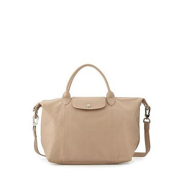 Longchamp Le Pliage Cuir Leather Handbag in Sandy