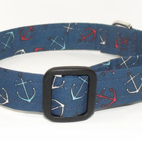 Red, White, Blue Nautical Dog Collar with Anchors