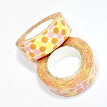 Pink orange & yellow polka dot 15mm washi tape / 10M