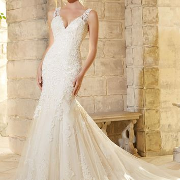 Mori Lee 2773 Lace Fit and Flare Wedding Dress